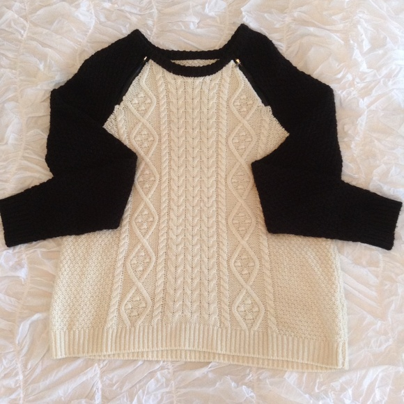 Back & White Cable Knit Sweater